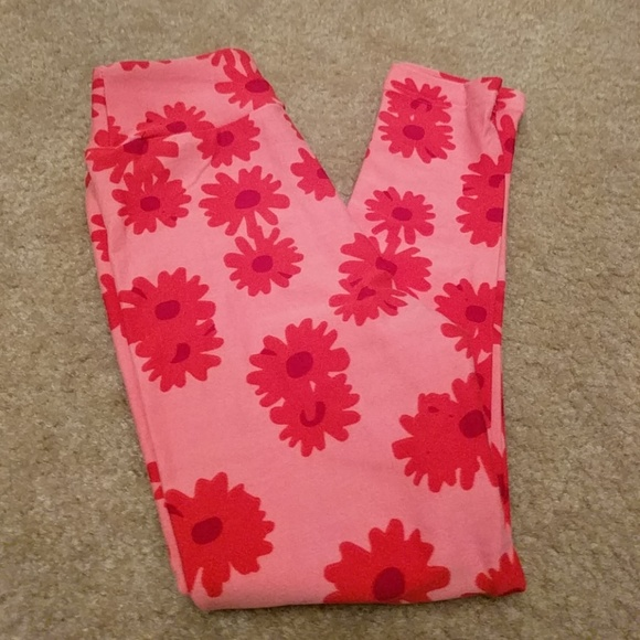 Small Red Flowers Floral Design LuLaRoe Kids Leggings S//M Small Medium Blue